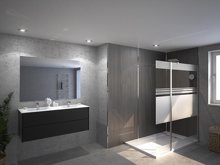 Salle de bain moderne douche italienne